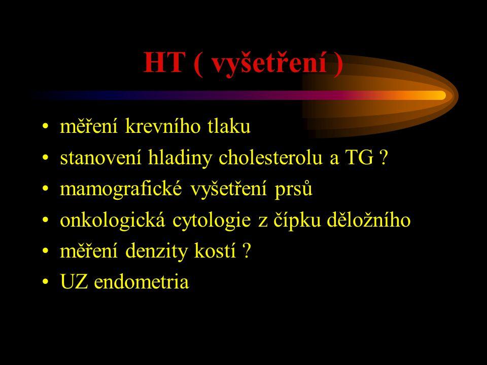 HT ( vyšetření ) měření krevního tlaku stanovení hladiny cholesterolu a TG ? mamografické vyšetření prsů onkologická cytologie z čípku děložního měřen