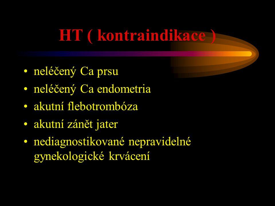 HT ( kontraindikace ) neléčený Ca prsu neléčený Ca endometria akutní flebotrombóza akutní zánět jater nediagnostikované nepravidelné gynekologické krv