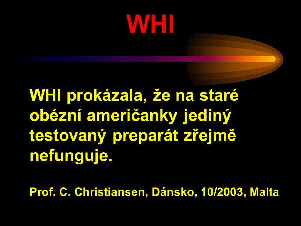 WHI WHI prokázala, že na staré obézní američanky jediný testovaný preparát zřejmě nefunguje. Prof. C. Christiansen, Dánsko, 10/2003, Malta