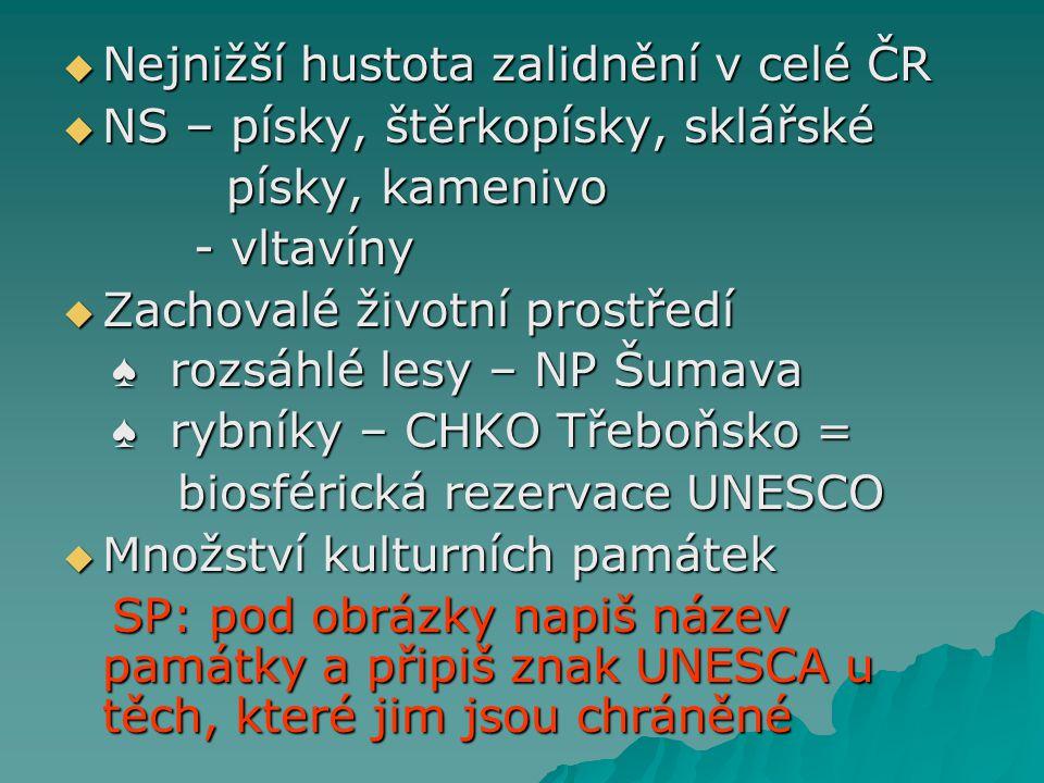  Nejnižší hustota zalidnění v celé ČR  NS – písky, štěrkopísky, sklářské písky, kamenivo písky, kamenivo - vltavíny - vltavíny  Zachovalé životní p