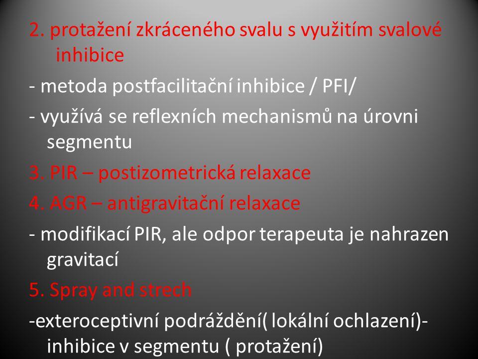 2. protažení zkráceného svalu s využitím svalové inhibice - metoda postfacilitační inhibice / PFI/ - využívá se reflexních mechanismů na úrovni segmen