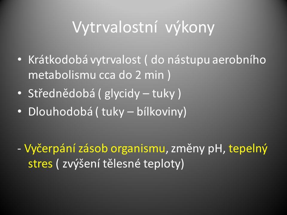 Vytrvalostní výkony Krátkodobá vytrvalost ( do nástupu aerobního metabolismu cca do 2 min ) Střednědobá ( glycidy – tuky ) Dlouhodobá ( tuky – bílkoviny) - Vyčerpání zásob organismu, změny pH, tepelný stres ( zvýšení tělesné teploty)