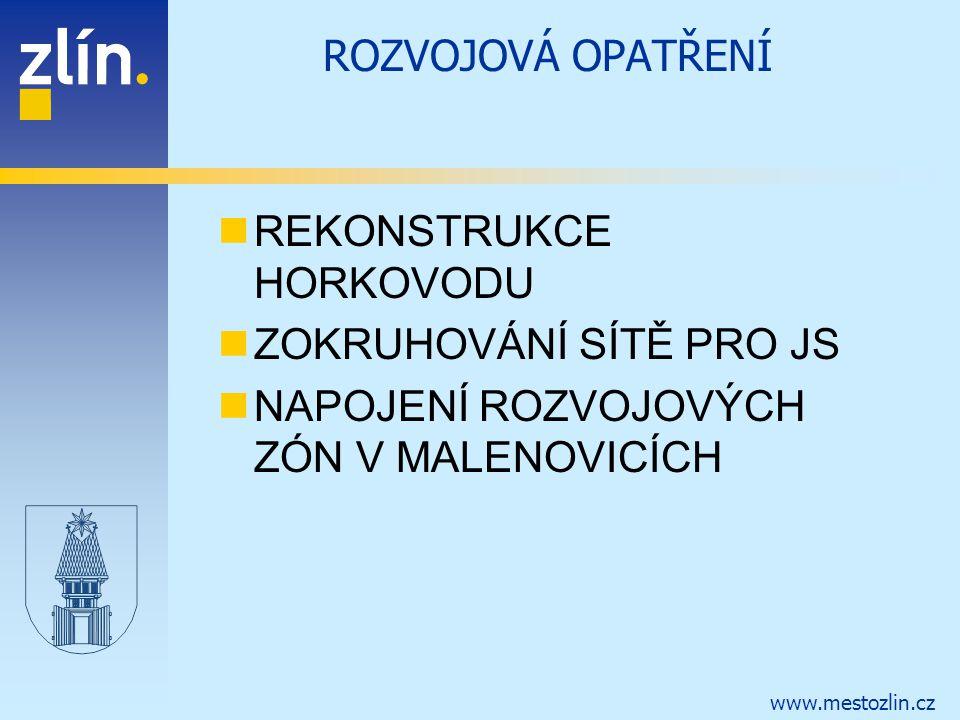 www.mestozlin.cz ROZVOJOVÁ OPATŘENÍ REKONSTRUKCE HORKOVODU ZOKRUHOVÁNÍ SÍTĚ PRO JS NAPOJENÍ ROZVOJOVÝCH ZÓN V MALENOVICÍCH