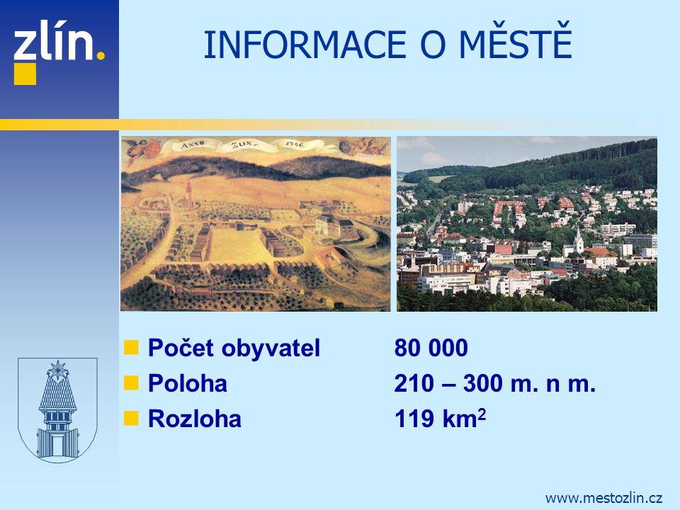 www.mestozlin.cz INFORMACE O MĚSTĚ Počet obyvatel 80 000 Poloha210 – 300 m. n m. Rozloha119 km 2