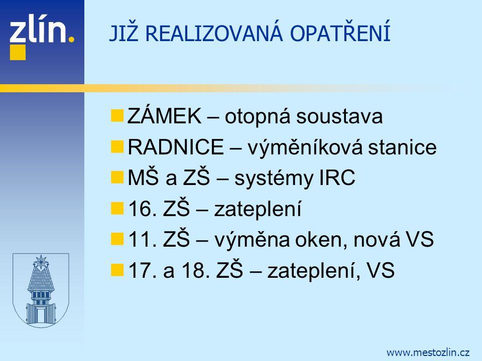 www.mestozlin.cz JIŽ REALIZOVANÁ OPATŘENÍ ZÁMEK – otopná soustava RADNICE – výměníková stanice MŠ a ZŠ – systémy IRC 16. ZŠ – zateplení 11. ZŠ – výměn