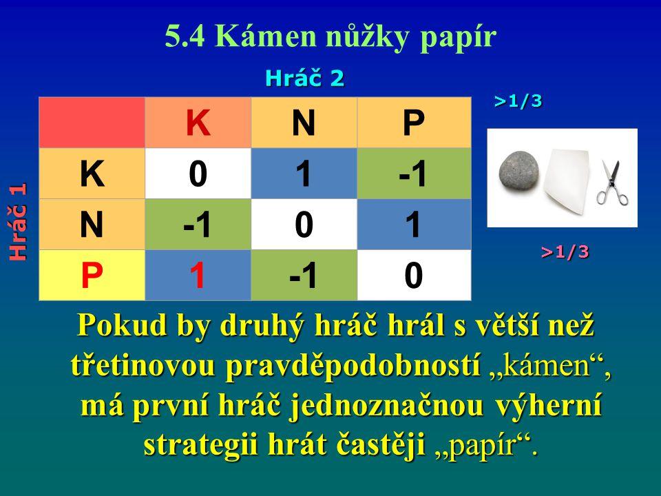 """5.4 Kámen nůžky papír Pokud by druhý hráč hrál s větší než třetinovou pravděpodobností """"kámen"""", má první hráč jednoznačnou výherní strategii hrát čast"""