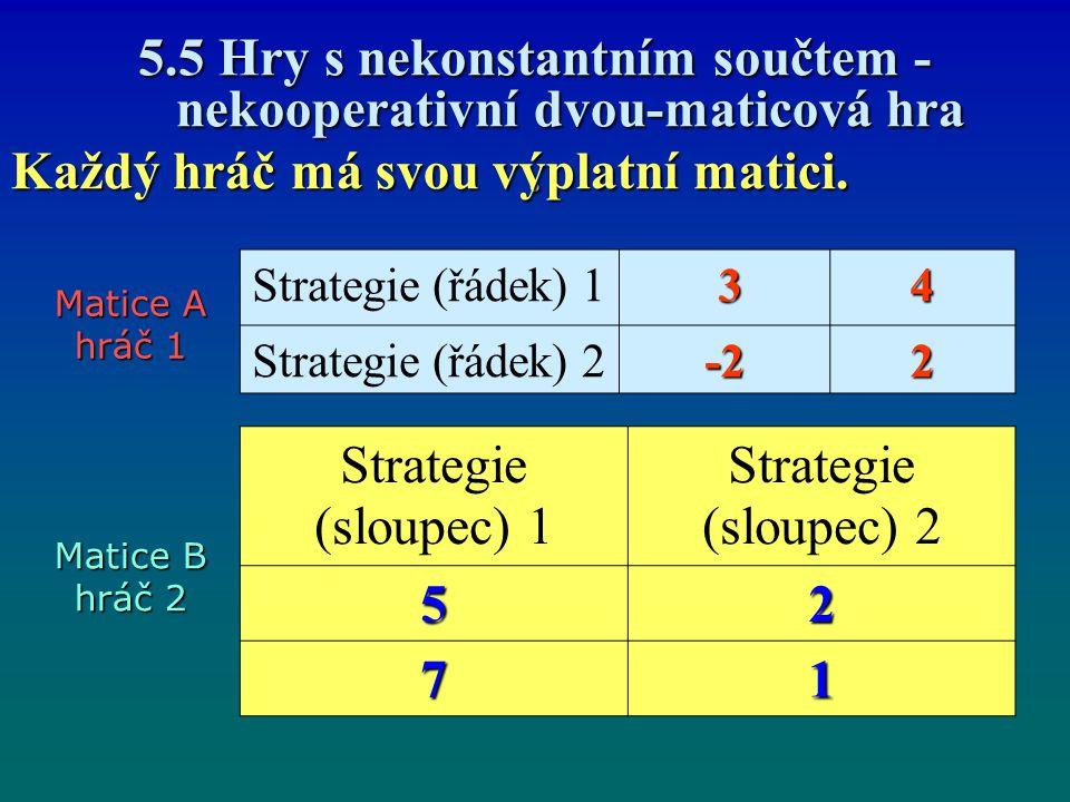 5.5 Hry s nekonstantním součtem - nekooperativní dvou-maticová hra. Každý hráč má svou výplatní matici. Strategie (řádek) 1 34 Strategie (řádek) 2-22