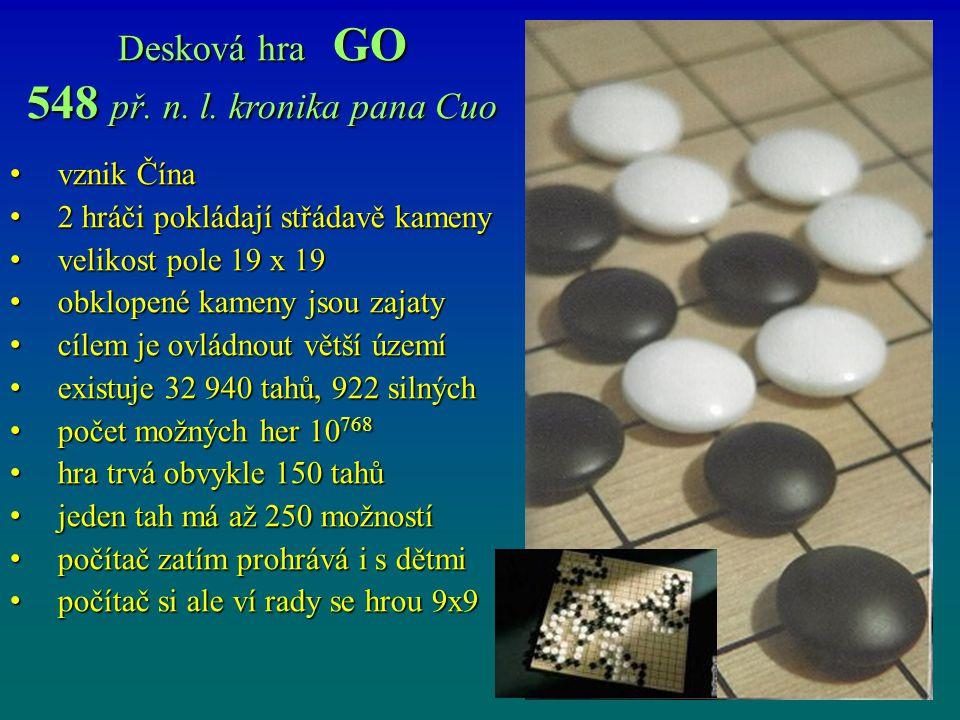 Desková hra GO 548 př. n. l. kronika pana Cuo vznik Čína vznik Čína 2 hráči pokládají střádavě kameny 2 hráči pokládají střádavě kameny velikost pole