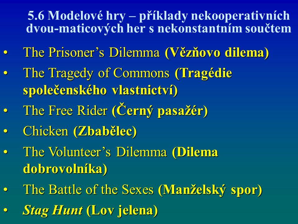5.6 Modelové hry – příklady nekooperativních dvou-maticových her s nekonstantním součtem The Prisoner's Dilemma (Vězňovo dilema)The Prisoner's Dilemma