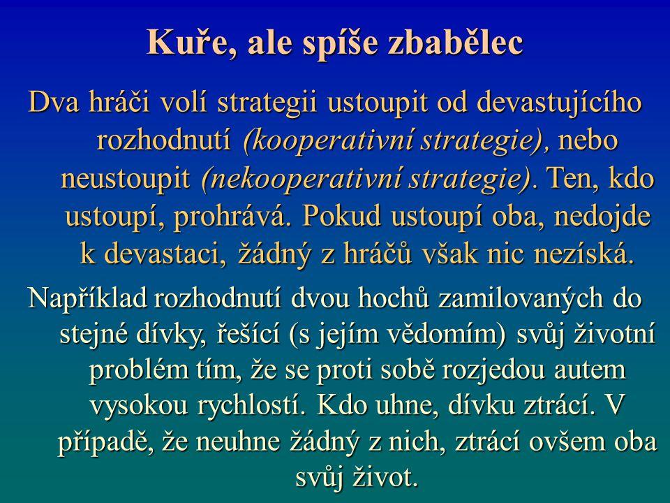 Kuře, ale spíše zbabělec Dva hráči volí strategii ustoupit od devastujícího rozhodnutí (kooperativní strategie), nebo neustoupit (nekooperativní strat