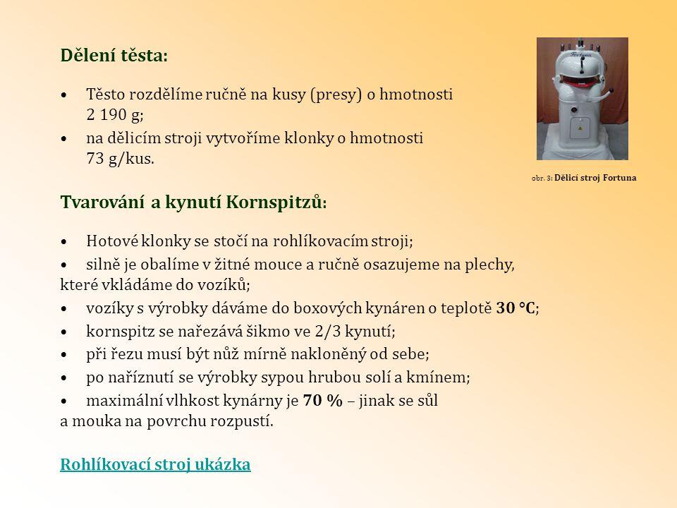 Dělení těsta: Tvarování a kynutí Kornspitzů : Těsto rozdělíme ručně na kusy (presy) o hmotnosti 2 190 g; na dělicím stroji vytvoříme klonky o hmotnost