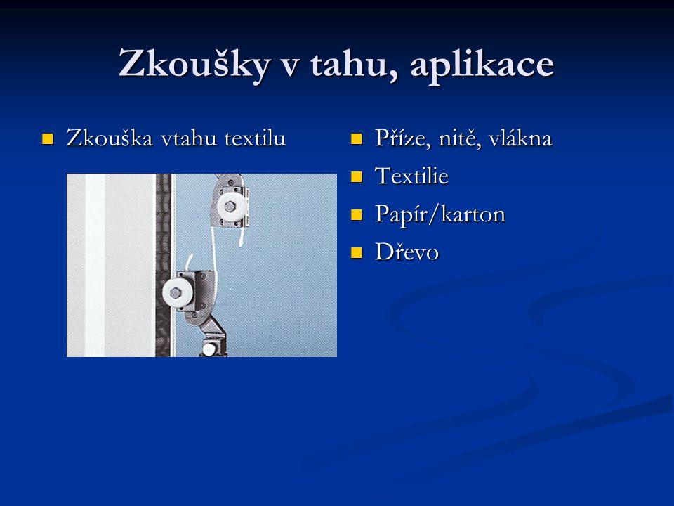 Zkoušky v tahu, aplikace Zkouška vtahu textilu Zkouška vtahu textilu Příze, nitě, vlákna Textilie Papír/karton Dřevo