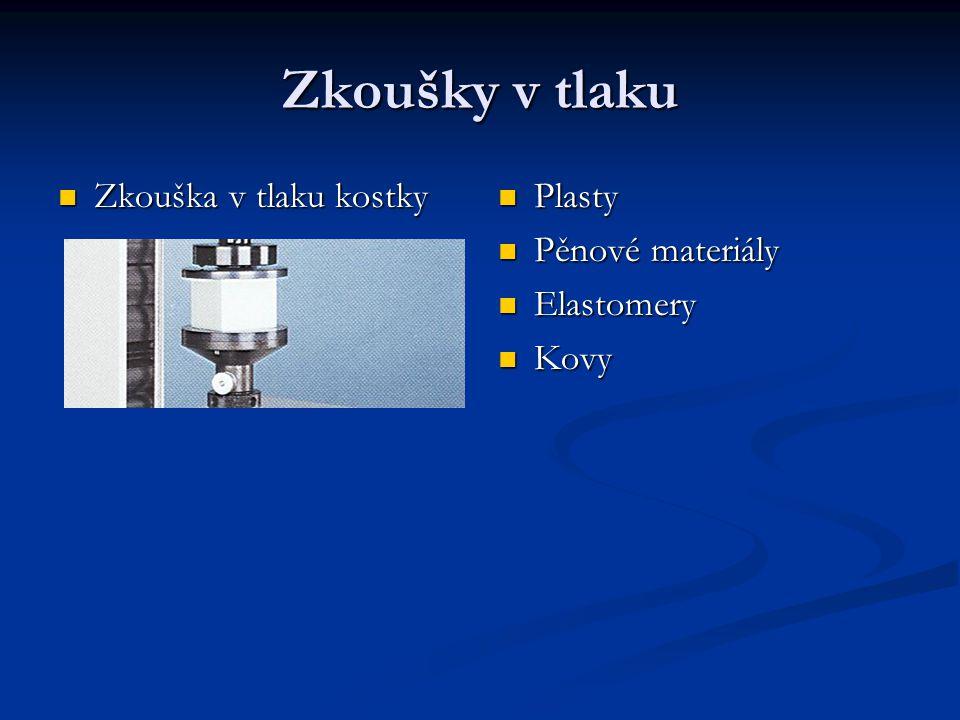 Zkoušky v tlaku Zkouška v tlaku kostky Zkouška v tlaku kostky Plasty Pěnové materiály Elastomery Kovy