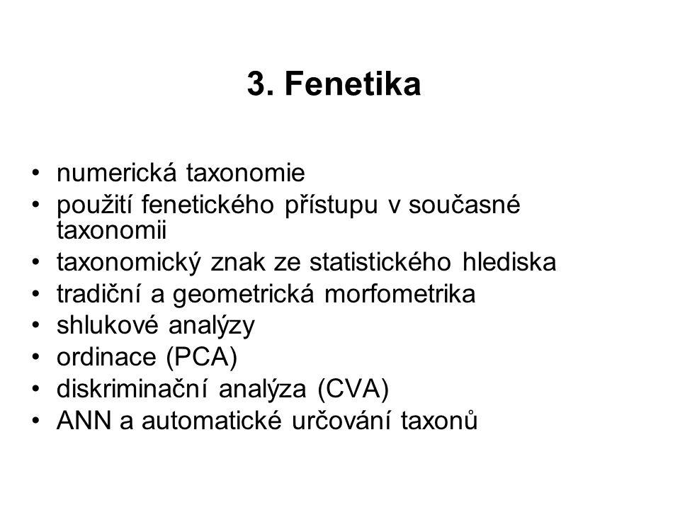 3. Fenetika numerická taxonomie použití fenetického přístupu v současné taxonomii taxonomický znak ze statistického hlediska tradiční a geometrická mo