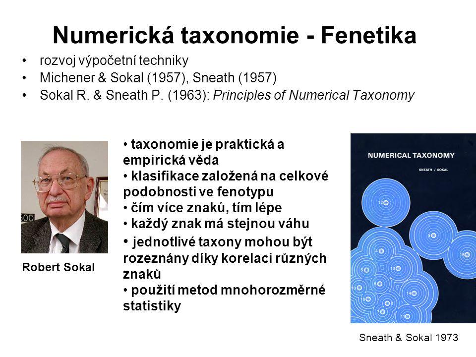 Numerická taxonomie - Fenetika rozvoj výpočetní techniky Michener & Sokal (1957), Sneath (1957) Sokal R. & Sneath P. (1963): Principles of Numerical T