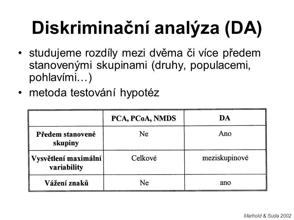 Diskriminační analýza (DA) studujeme rozdíly mezi dvěma či více předem stanovenými skupinami (druhy, populacemi, pohlavími…) metoda testování hypotéz