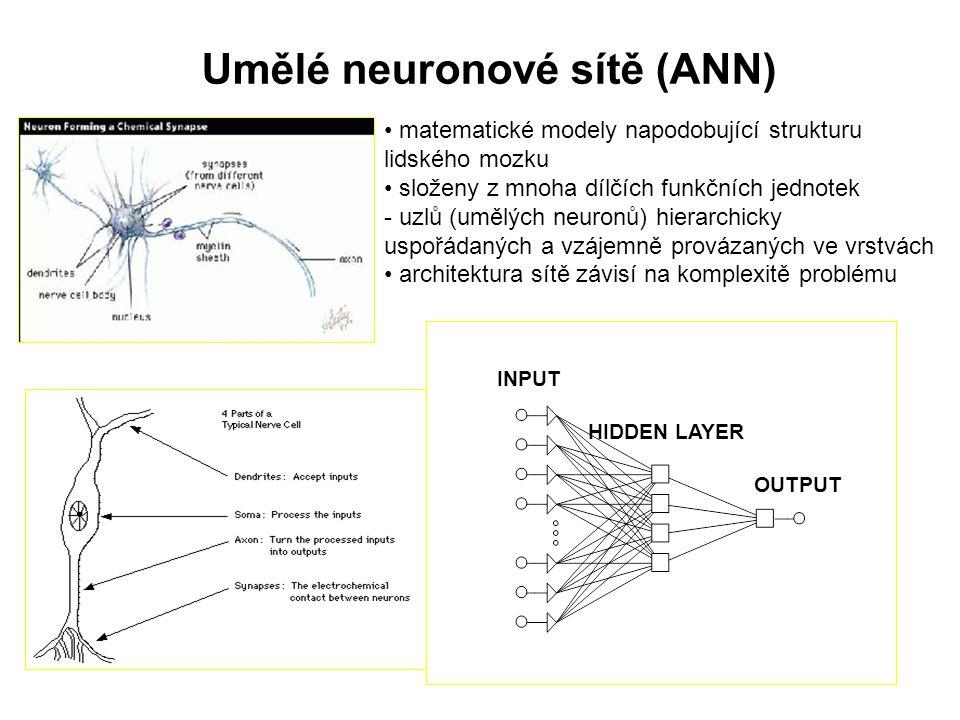 Umělé neuronové sítě (ANN) INPUT HIDDEN LAYER OUTPUT matematické modely napodobující strukturu lidského mozku složeny z mnoha dílčích funkčních jednot