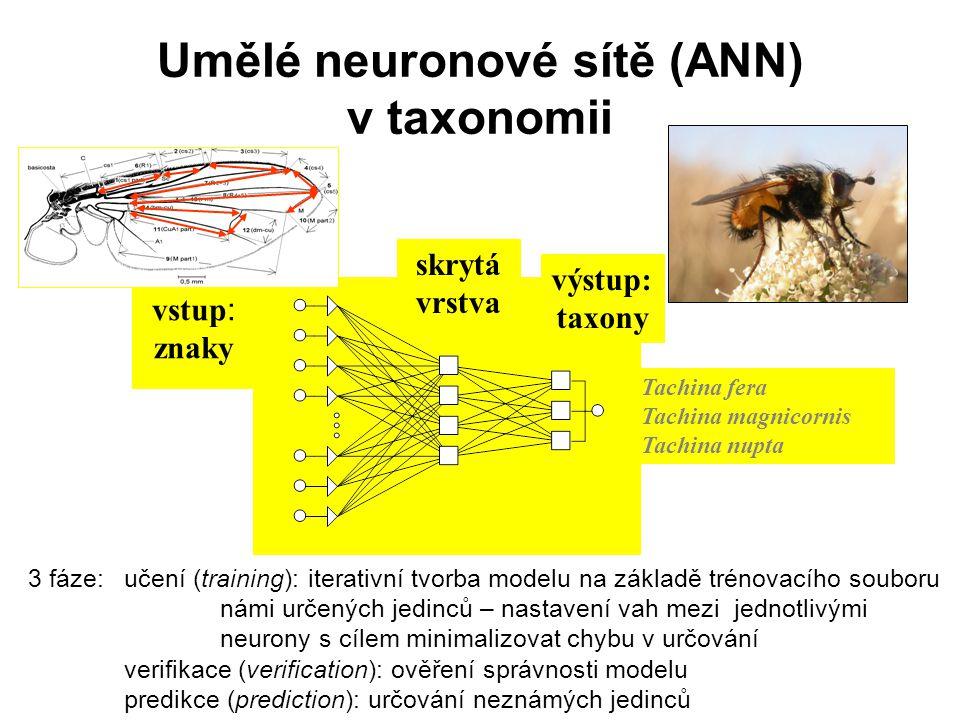 Umělé neuronové sítě (ANN) v taxonomii Tachina fera Tachina magnicornis Tachina nupta vstup : znaky výstup: taxony 3 fáze: učení (training): iterativn