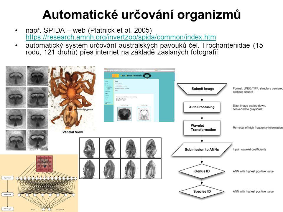 např. SPIDA – web (Platnick et al. 2005) https://research.amnh.org/invertzoo/spida/common/index.htm https://research.amnh.org/invertzoo/spida/common/i