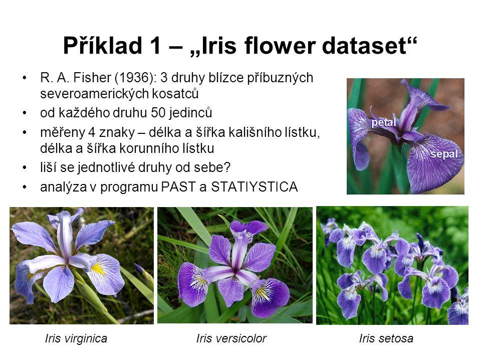 """Příklad 1 – """"Iris flower dataset"""" R. A. Fisher (1936): 3 druhy blízce příbuzných severoamerických kosatců od každého druhu 50 jedinců měřeny 4 znaky –"""