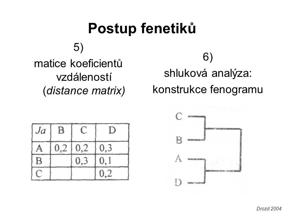Úskalí fenetiky vychází z přístupu, že fylogeneze není poznatelná odlišné statistické metody = odlišné výsledky problém stejnocennosti znaků: –různý obsah informací vhodných pro klasifikaci, relativní dle hierarchické úrovně (nestejná rychlost evoluce) –nerozlišuje povrchní podobnost (např.