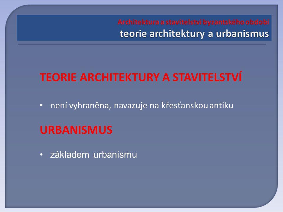 TEORIE ARCHITEKTURY A STAVITELSTVÍ není vyhraněna, navazuje na křesťanskou antiku URBANISMUS základem urbanismu