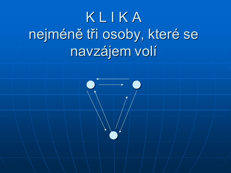 K L I K A nejméně tři osoby, které se navzájem volí K L I K A nejméně tři osoby, které se navzájem volí