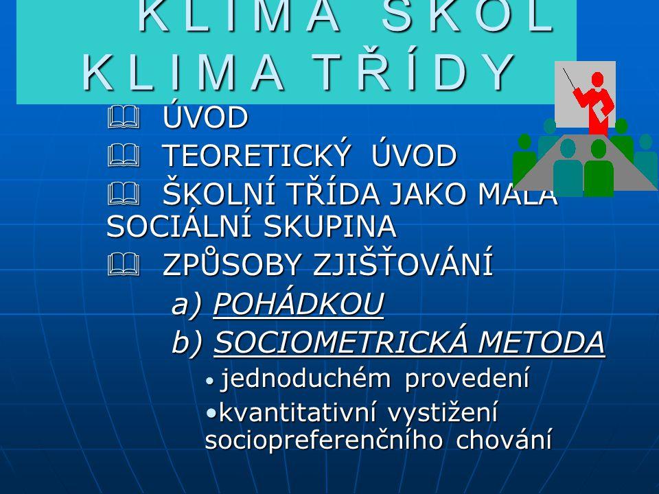K L I M A Š K O L K L I M A T Ř Í D Y ÚVOD TEORETICKÝ ÚVOD ŠKOLNÍ TŘÍDA JAKO MALÁ SOCIÁLNÍ SKUPINA ZPŮSOBY ZJIŠŤOVÁNÍ a) a) POHÁDKOU b) SOCIOMETRICKÁ METODA jednoduchém provedení kvantitativníkvantitativní vystižení sociopreferenčního chování