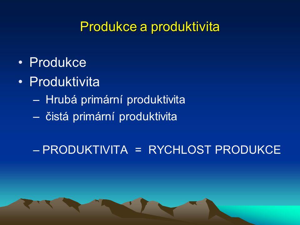 Produkce a produktivita Produkce je proces transformace energie I.