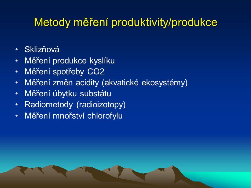 Metody měření produktivity/produkce Sklizňová Měření produkce kyslíku Měření spotřeby CO2 Měření změn acidity (akvatické ekosystémy) Měření úbytku sub