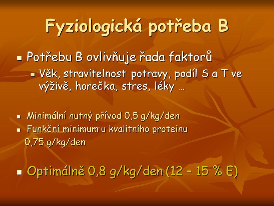 Fyziologická potřeba B Potřebu B ovlivňuje řada faktorů Potřebu B ovlivňuje řada faktorů Věk, stravitelnost potravy, podíl S a T ve výživě, horečka, s
