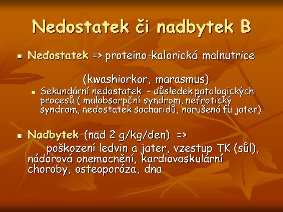 Nedostatek či nadbytek B Nedostatek => proteino-kalorická malnutrice Nedostatek => proteino-kalorická malnutrice (kwashiorkor, marasmus) (kwashiorkor,