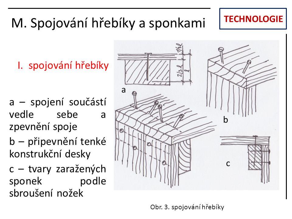 TECHNOLOGIE M. Spojování hřebíky a sponkami I. spojování hřebíky Obr. 3. spojování hřebíky a b c a – spojení součástí vedle sebe a zpevnění spoje b –