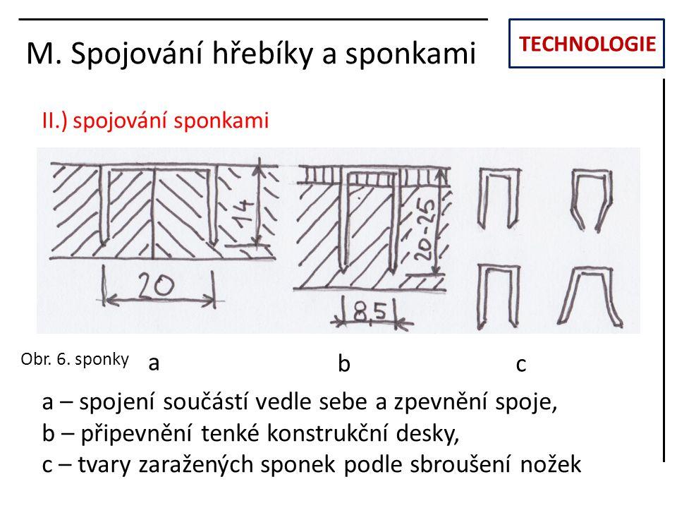 TECHNOLOGIE M. Spojování hřebíky a sponkami II.) spojování sponkami a – spojení součástí vedle sebe a zpevnění spoje, b – připevnění tenké konstrukční
