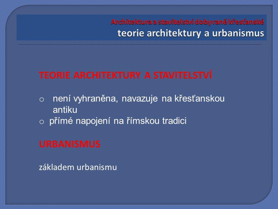 TEORIE ARCHITEKTURY A STAVITELSTVÍ o není vyhraněna, navazuje na křesťanskou antiku o přímé napojení na římskou tradici URBANISMUS základem urbanismu
