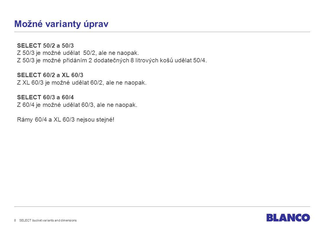 Možné varianty úprav SELECT 50/2 a 50/3 Z 50/3 je možné udělat 50/2, ale ne naopak.