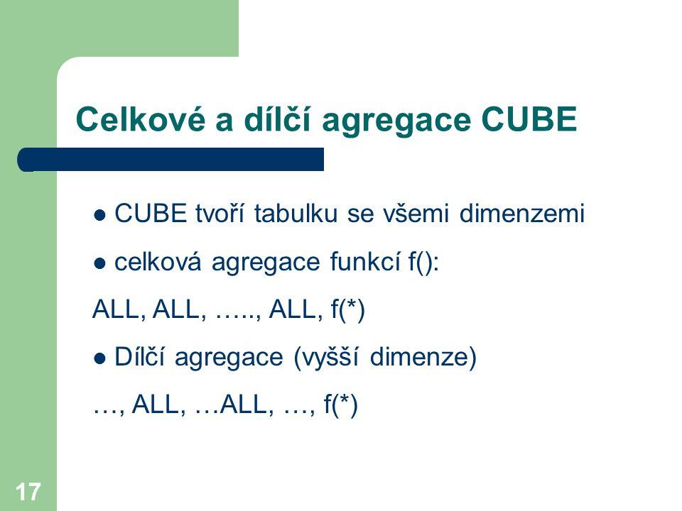 17 Celkové a dílčí agregace CUBE CUBE tvoří tabulku se všemi dimenzemi celková agregace funkcí f(): ALL, ALL, ….., ALL, f(*) Dílčí agregace (vyšší dim