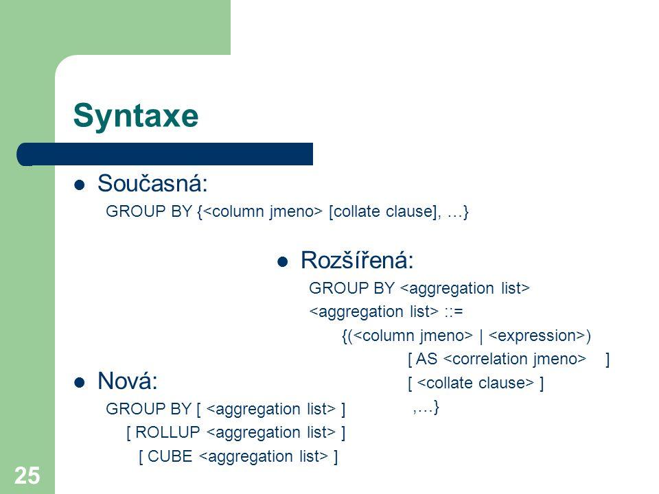 25 Syntaxe Současná: GROUP BY { [collate clause], …} Rozšířená: GROUP BY ::= {( | ) [ AS ] [ ],…} Nová: GROUP BY [ ] [ ROLLUP ] [ CUBE ]