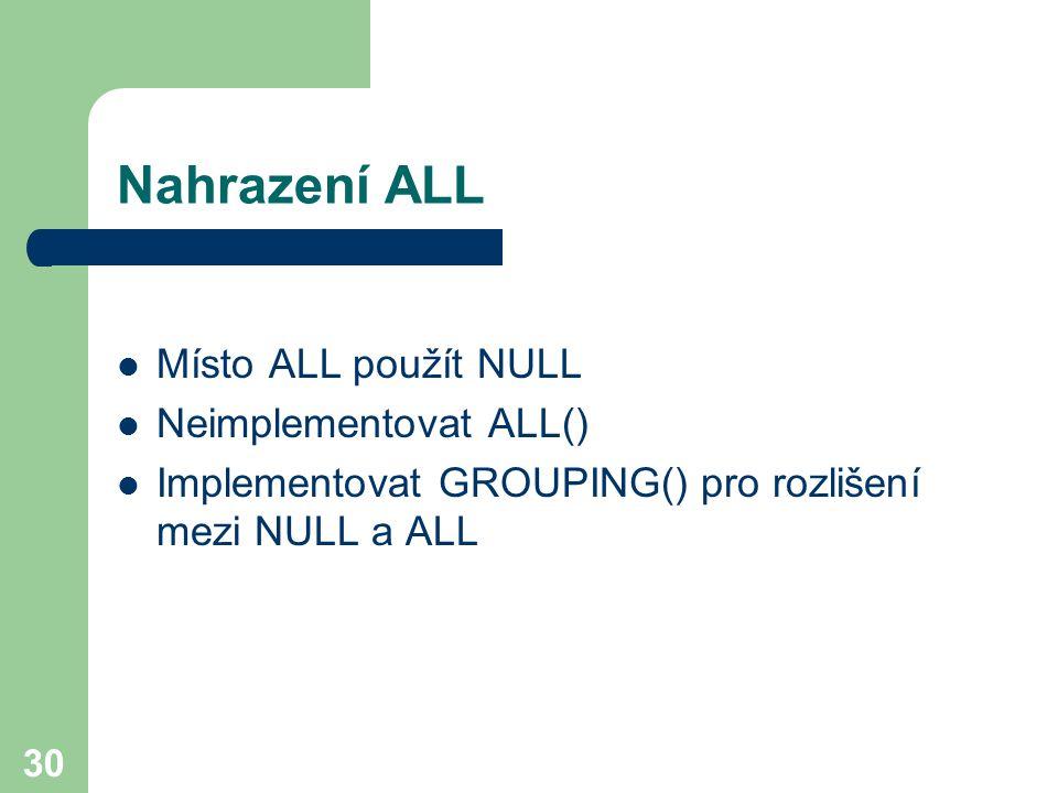 30 Nahrazení ALL Místo ALL použít NULL Neimplementovat ALL() Implementovat GROUPING() pro rozlišení mezi NULL a ALL