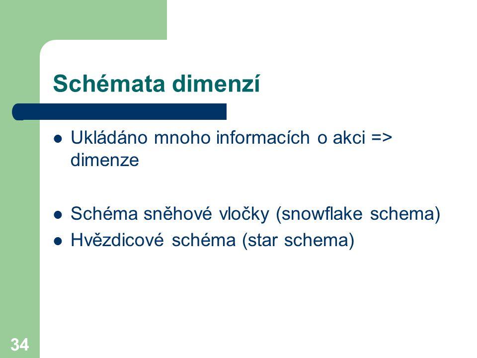 34 Schémata dimenzí Ukládáno mnoho informacích o akci => dimenze Schéma sněhové vločky (snowflake schema) Hvězdicové schéma (star schema)