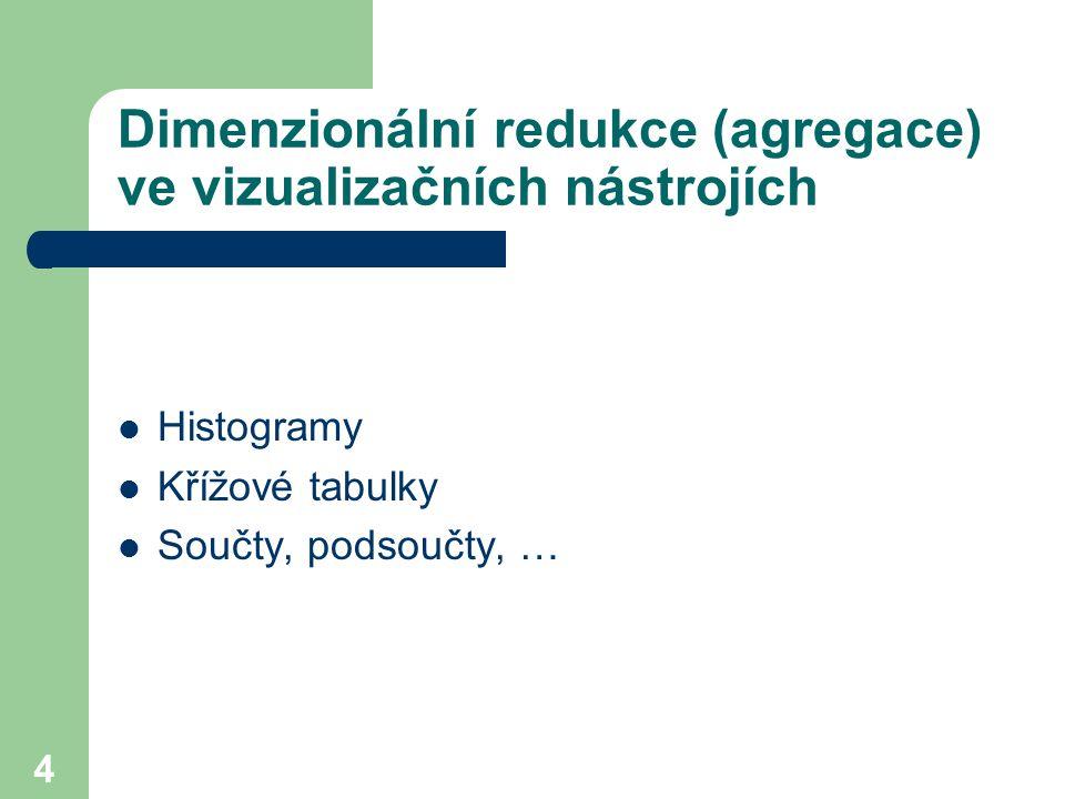 4 Dimenzionální redukce (agregace) ve vizualizačních nástrojích Histogramy Křížové tabulky Součty, podsoučty, …