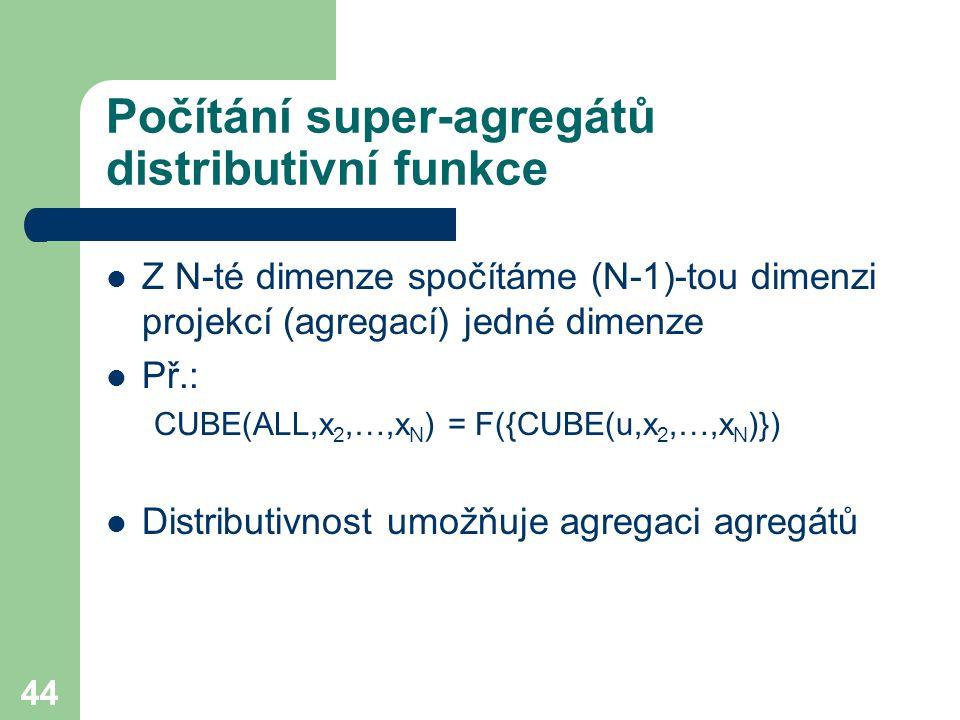 44 Počítání super-agregátů distributivní funkce Z N-té dimenze spočítáme (N-1)-tou dimenzi projekcí (agregací) jedné dimenze Př.: CUBE(ALL,x 2,…,x N )