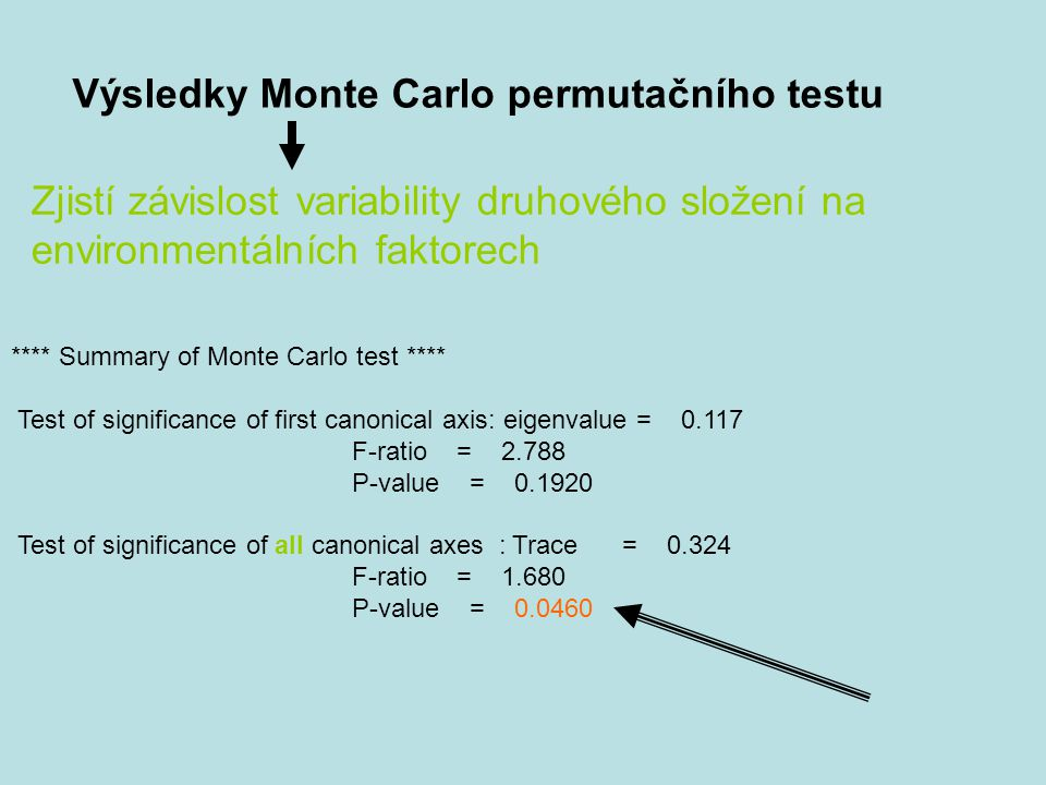 **** Summary of Monte Carlo test **** Test of significance of first canonical axis: eigenvalue = 0.117 F-ratio = 2.788 P-value = 0.1920 Test of signif