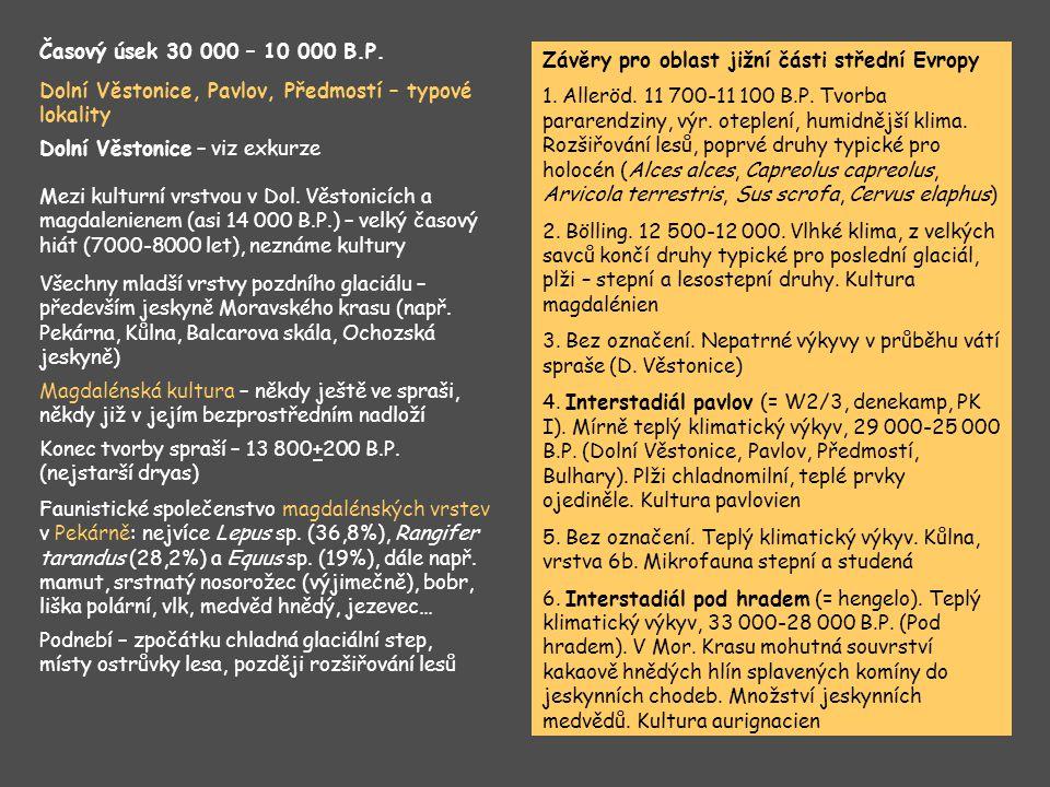 Dolní Věstonice, Pavlov, Předmostí – typové lokality Dolní Věstonice – viz exkurze Časový úsek 30 000 – 10 000 B.P. Mezi kulturní vrstvou v Dol. Věsto