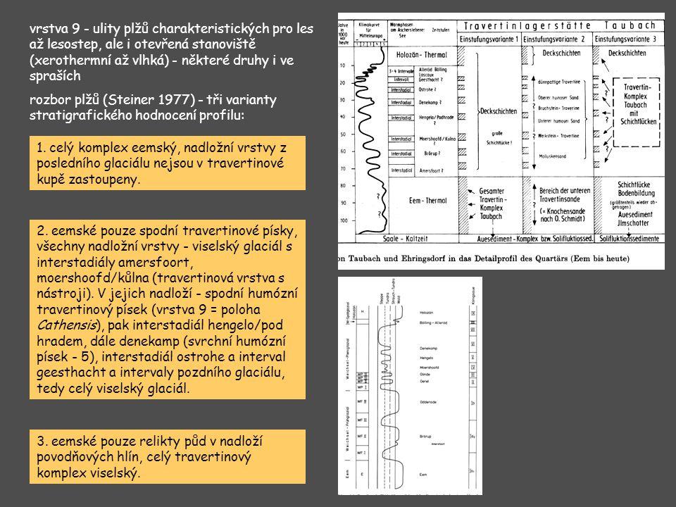 vrstva 9 - ulity plžů charakteristických pro les až lesostep, ale i otevřená stanoviště (xerothermní až vlhká) - některé druhy i ve spraších rozbor pl