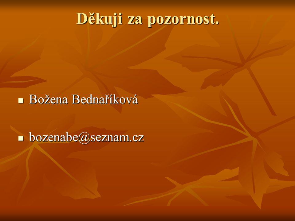 Děkuji za pozornost. Božena Bednaříková Božena Bednaříková bozenabe@seznam.cz bozenabe@seznam.cz