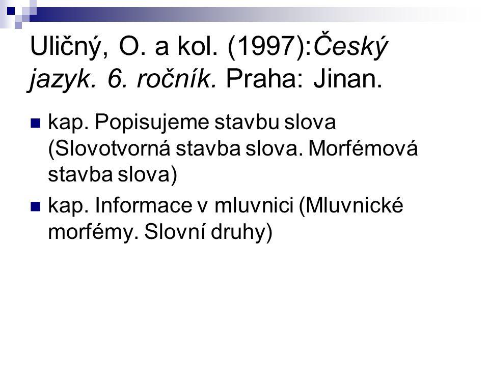 Uličný, O. a kol. (1997):Český jazyk. 6. ročník. Praha: Jinan. kap. Popisujeme stavbu slova (Slovotvorná stavba slova. Morfémová stavba slova) kap. In