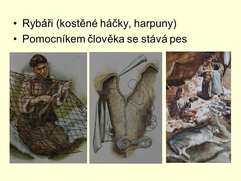 Rybáři (kostěné háčky, harpuny) Pomocníkem člověka se stává pes