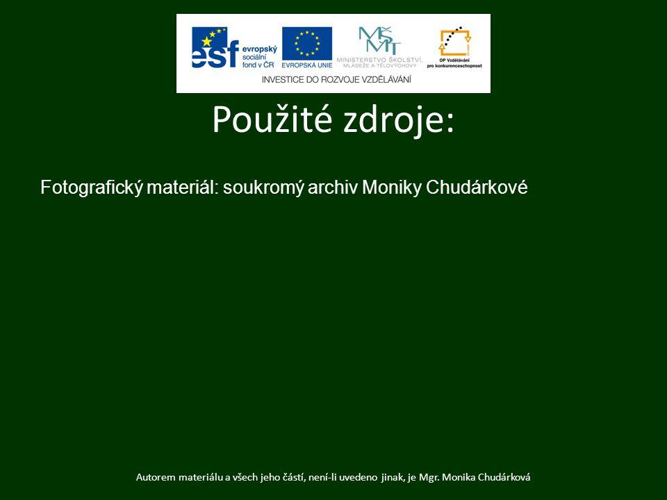 Fotografický materiál: soukromý archiv Moniky Chudárkové Autorem materiálu a všech jeho částí, není-li uvedeno jinak, je Mgr. Monika Chudárková Použit