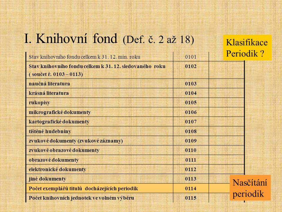 I. Knihovní fond (Def. č. 2 až 18) Stav knihovního fondu celkem k 31. 12. min. roku0101 Stav knihovního fondu celkem k 31. 12. sledovaného roku ( souč